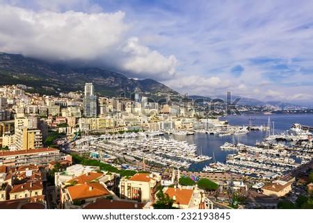Bay of Monaco and Monte Carlo skyline - stock photo