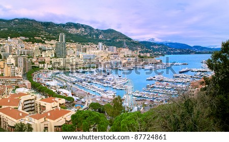 Bay of Monaco and Monte Carlo skyline - stock photo