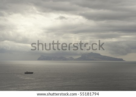 Bay of Naples with Dramatic Sky Background. Italy, Europe