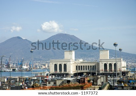 bay  of Naples with harbor and  Vesuvius behind, Italy - stock photo