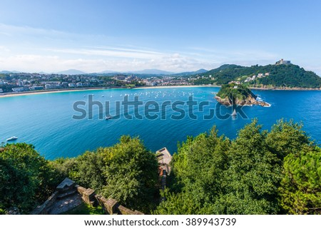 Bay of San Sebastian from Monte Urgull, Basque Country (Spain)  - stock photo
