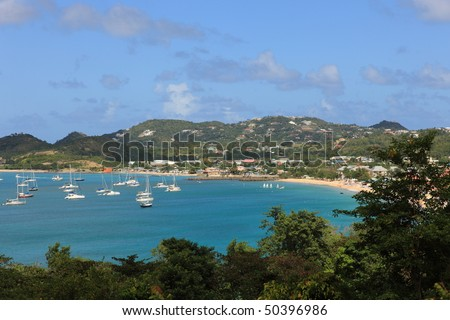 Bay on St. Lucia in the Caribbean - stock photo
