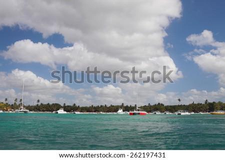 Bay port for yachts. Bayaibe, Dominican Republic  - stock photo