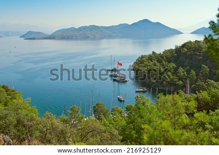 Bay Sarsala in Turkey. View from the bird's-eye view
