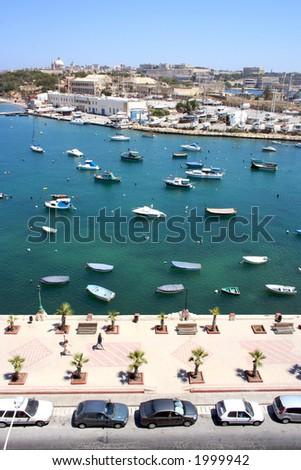 bay view in sliema city on malta island - stock photo