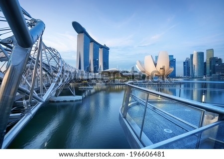 Bay view of Singapore City.  - stock photo
