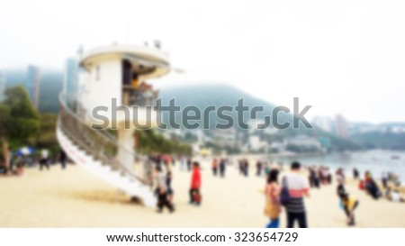 Bay Watch Life Guard Tower on Repulse Bay in Hong Kong blurred For Background - stock photo