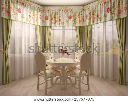 Bay window with dining table - stock photo