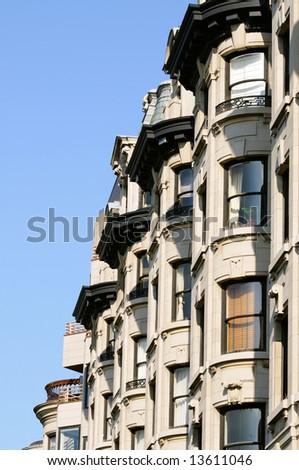 Bay windows in elegant apartment building of Back Bay, Boston - stock photo