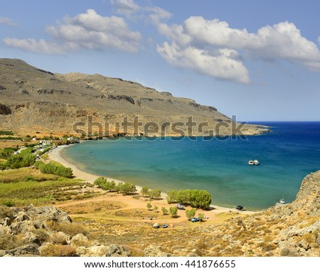 Bay with archeological site Zakros. The ruins of the Minoan palaces and cities of eastern Crete, UNESCO tentative list, Greece