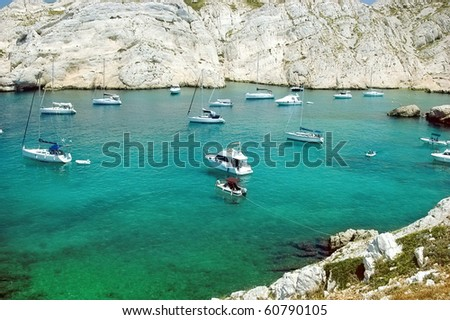 Bay with boats on the island Frioul - stock photo