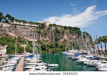 bay with luxury boats in monaco - stock photo