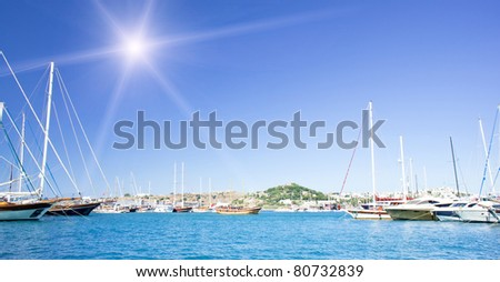 Bay with yachts in the Bodrum town. Turkey. - stock photo