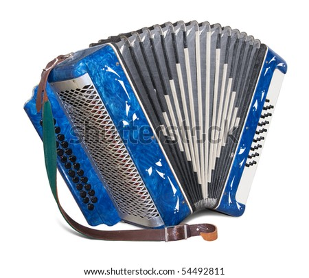 Bayan (kind of accordion) isolated on white background. Clipping path included. - stock photo