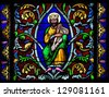 BAYEUX - FEBRUARY 12: Stained Glass window depicting King David, in Bayeux, Calvados, France on February 12, 2013. - stock photo