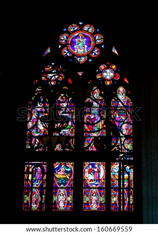 BAYEUX, FRANCE - DECEMBER 27: Stained glass in the cathedral  on December 27, 2012 in Bayeux, France