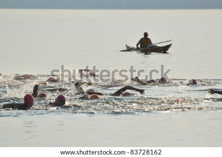 BAYFIELD, WI - AUGUST 6: Start of a Women's Open Water Swim Race on Lake Superior on August 6, 2011 near Bayfield, Wisconsin