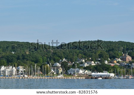 Bayfield, Wisconsin on Lake Superior on a Beautiful Summer Day on Lake Superior - stock photo