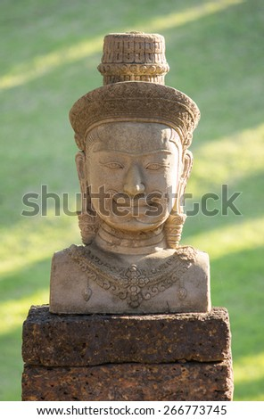 bayon statue stone face, angkor wat, cambodia - stock photo