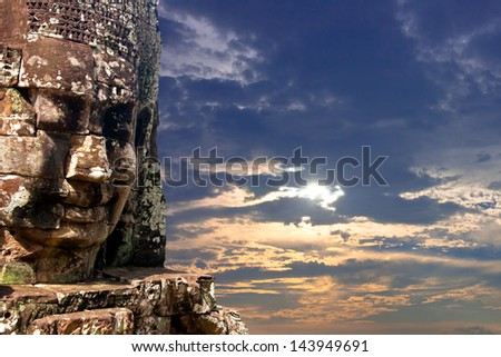 bayon stone faces of the people ,siem reap ,Cambodia, was inscribed on the UNESCO World Heritage List in 1992. - stock photo