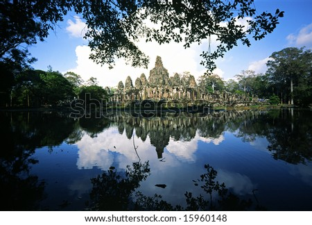 Bayon Temple,  Angkor Thom, Siem Reap, Cambodia. - stock photo