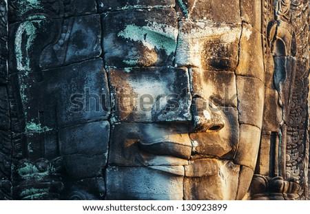 Bayon Temple in Angkor,Cambodia - stock photo