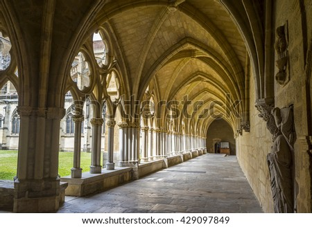 Bayonne, France - May 21, 2016: Cloister of Sainte-Marie de Bayonne Cathedral.  Bayonne, Aquitaine. France - stock photo