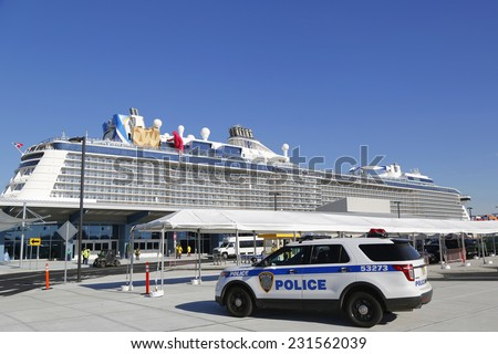 BAYONNE, NEW JERSEY- NOVEMBER 18:Port Authority Police New York New Jersey providing security for Royal Caribbean Cruise Ship Quantum of the Seas docked at Cape Liberty Cruise Port on November 18,2014 - stock photo
