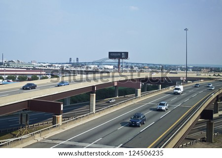BAYONNE, NEW JERSEY/USA - JUNE 21: A view of the NJ Turnpike on June 21, 2012 near Bayonne NJ. The NJ Turnpike is a major toll road in New Jersey which was built in 1951.