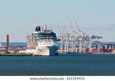 BAYONNE, NJ, USA - NOVEMBER 18: Cruise Ship Celebrity Silhouette moored at Cape Liberty Cruise Port at November 18, 2011. Cape Liberty Cruise Port is a part of the New York Harbor. - stock photo