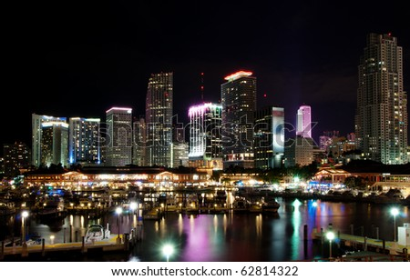 Bayside and the skyline of Miami at night - stock photo
