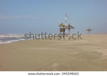 baywatch tower in Ostia beach, Italy                           - stock photo