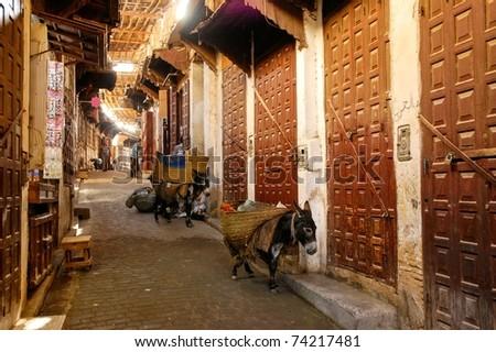 Bazaar street - souk - in Fes, Morocco - stock photo
