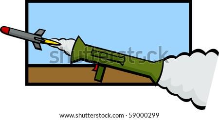bazooka weapon firing a rocket - stock photo
