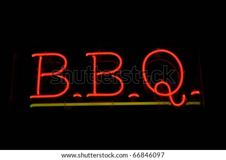 BBQ Barbecue Neon Sign - stock photo