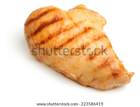 BBQ chicken breast on white background - stock photo