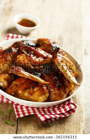 BBQ chicken wings - stock photo
