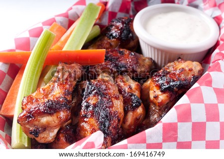 bbq chicken wings with dip diner style - stock photo