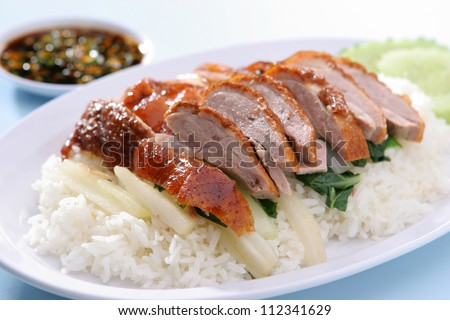 BBQ duck over steamed rice - stock photo