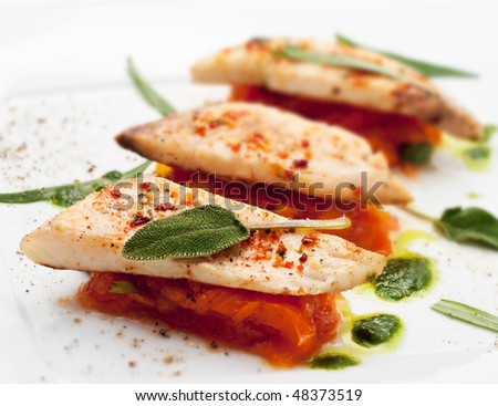BBQ Fillet of Fish with Vegetables and Greens - stock photo