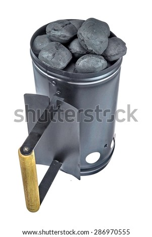 BBQ Grill Coals Flame Starter With  Charcoal Briquettes Isolated On White Background Close-up - stock photo