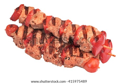 BBQ Grilled Beef Kebabs In A Heap Isolated On White Background, Closeup, Top View - stock photo