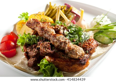 BBQ & Grilled Meat Set with Vegetables - stock photo