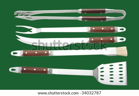 BBQ in green background - stock photo
