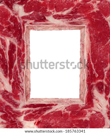 BBQ meat border carnivore food concept as a red steak as a frame as a symbol of agriculture diet and nutrition from animal flesh as a source of protein and thinking about the risks and benefits. - stock photo