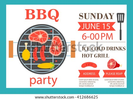 Bbq Grill Party Invitation Template Vector Stock Vector 211439278 ...
