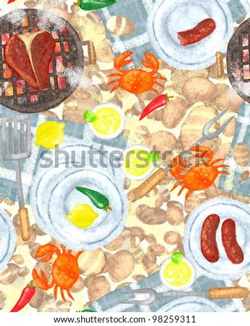 BBQ party seamless pattern, menu card, bbq grill party, beach party, cocktail party.