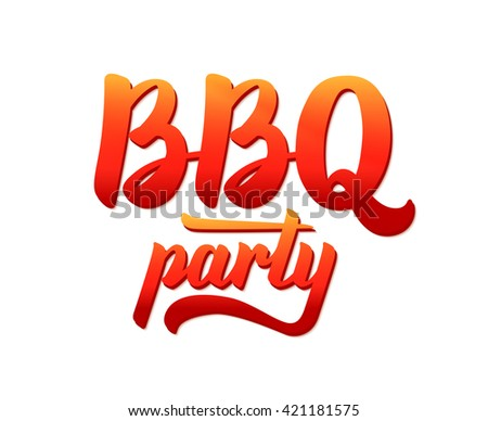 BBQ party typographic logo design template. Barbecue text hand lettering label