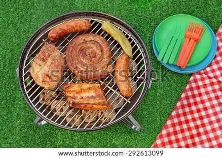 BBQ Portable Grill With Assorted Meat And Picnic Red Blanket On The Backyard Lawn. Overhead View. Summer Outdoor Barbecue Party Or Picnic Concept. - stock photo