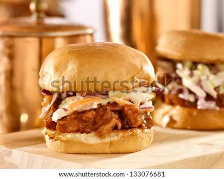 bbq pulled pork sandwich sliders - stock photo
